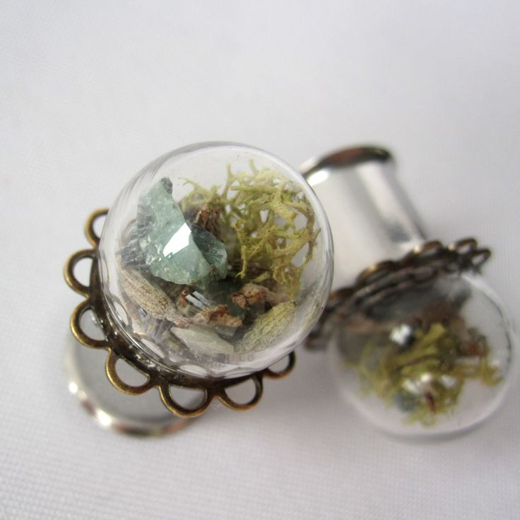 """Pair of Real Emerald, Lavender, and Moss Statement Plugs - Terrarium Gauges - 4g, 2g, 0g, 00g, 7/16"""", 1/2"""", 9/16"""", 5/8"""", 3/4"""", 7/8"""", 1"""" by WhimsyByKrista on Etsy"""