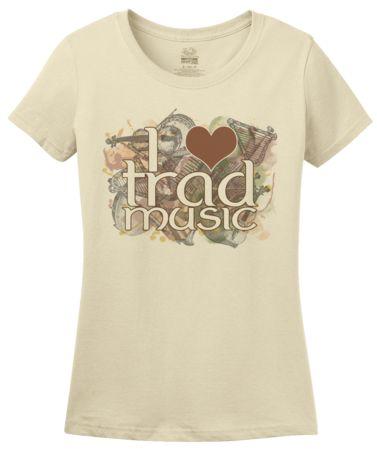 I Heart Trad Music   Women's T-Shirt #annarbortees #stpatricksday #irish #shirts #womens