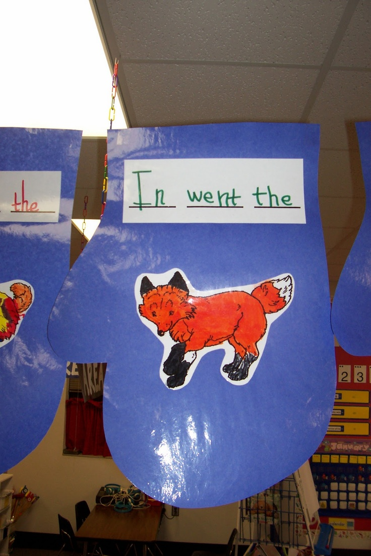 'The Mitten' sequencing display for a classroom