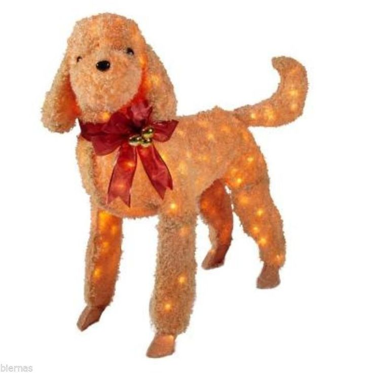 New 42 in brown tinsel lighted dog soft like fur for Home depot outdoor decorations