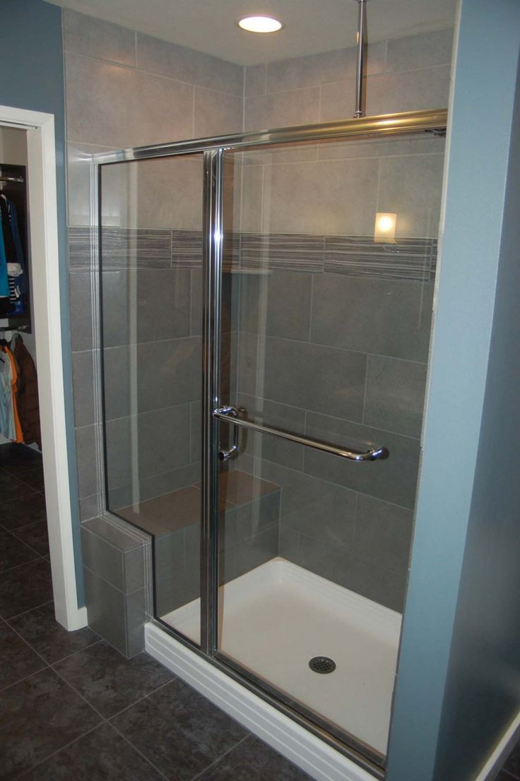 Bathroom showers with bench - Bathroom Small Bathroom Shower Room Designed With Two Tone Gray Wall Tile Also White Ceiling Recessed Light Grey Your Bathroom With Tile For Modern Outlook