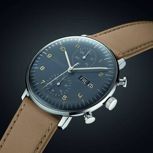 Junghans Max Bill Chronoscope Watch | Brown Calfskin. Classic sophistication on any wrist. Available at Sportiquesf.com: