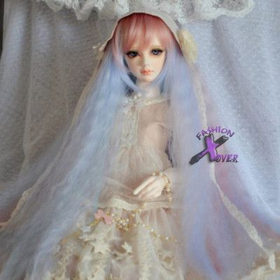 1/4 Doll Super Dollfie BJD Multi-color Mixed Pink Long Hair Wig SD Luts