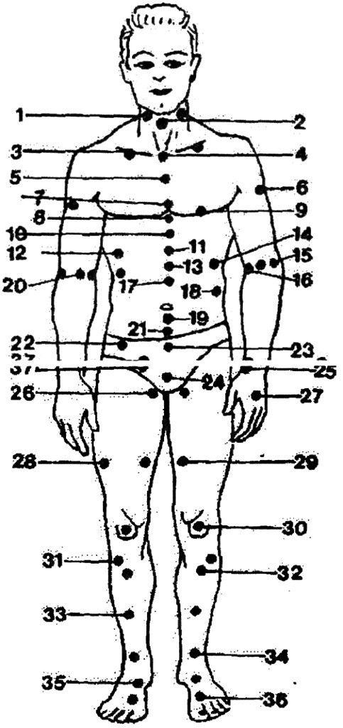 Сентября, китайские точки на теле человека в картинках и их названия