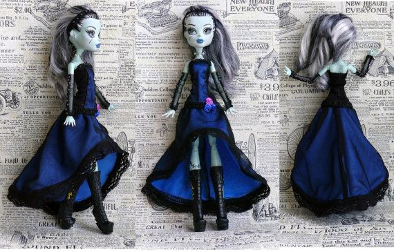 Monster High Clothes hand made Dress Jewelry, fantasy style dress, OUTFIT for Monster High Doll, blue dress on Etsy, $20.00