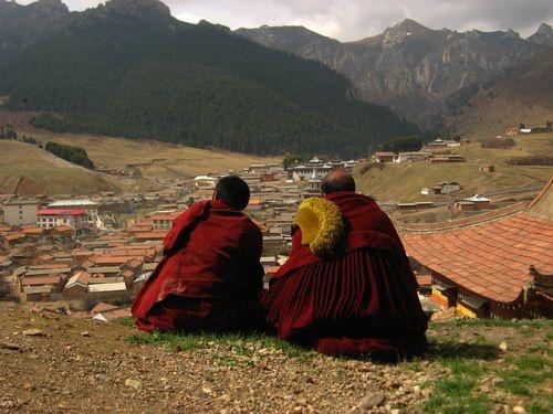 Langmusi, Sichuan, China - Lamas looking over the valley