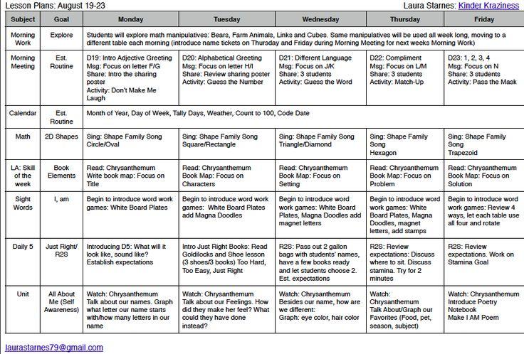 half day transitional kindergarten schedule - Google Search