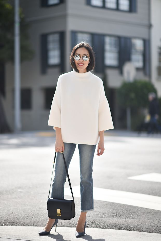"Jeans – Madewell Top – The Row  Sunglasses – Illesteva (new! here | also here in black with silver reflective lens and here in lighter tortoise with silver reflective lens) Purse – Celine Heels – Manolo Blahnik  Lips – Bobbi Brown Luxe Lip ""Soft Berry"""