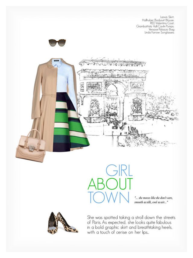 """""""GIRL ABOUT TOWN"""" by paint-it-black ❤ liked on Polyvore featuring RED Valentino, Hallhuber, Lanvin, Giambattista Valli, Linda Farrow, Versace, graphicprint and smartchic"""