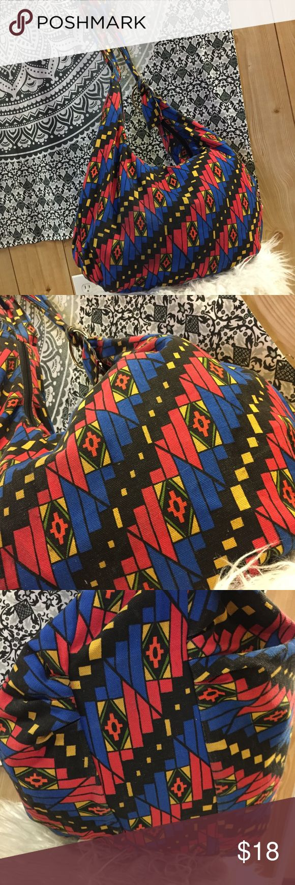 Tribal Aztec print over night duffle festival bag This colorful bag is super roomy and the perfect festival bag. You can fit a LOT in this bag! I used it as a flight carry on! ✈️ Forever 21 Bags Crossbody Bags