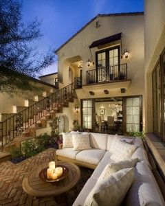 so pretty: Dreams Home, Dreams Houses, Outdoor Seats, Outdoor Living Spaces, Patio, Back Porches, Outdoor Area, Spanish Style, Outdoor Spaces