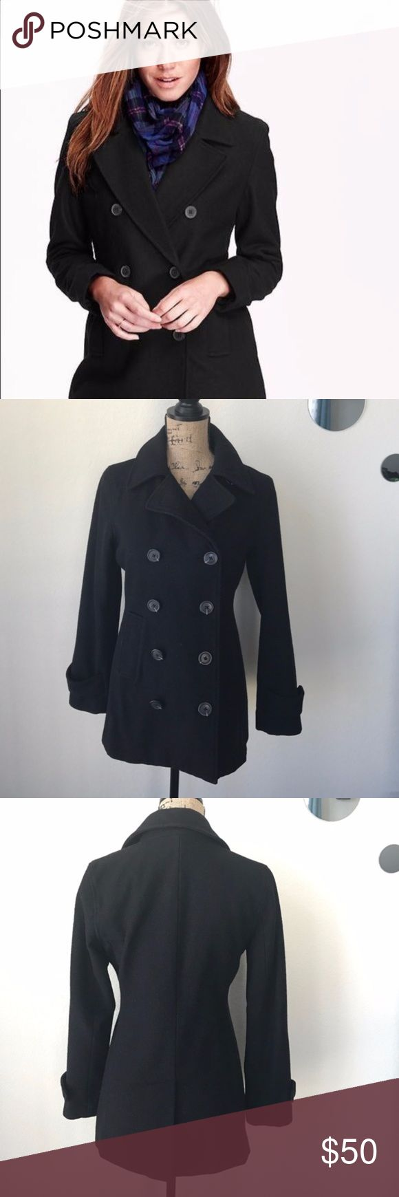 Gap Black Pea Coat Very cute black pea coat. I am a size small and this fits well, has been lightly used and the only flaw I've seen is a hole in the bottom of the inner lining of the jacket, shown in last picture. GAP Jackets & Coats Pea Coats