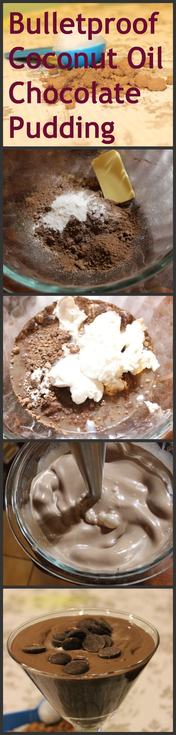 CHOCOLATE PUDDING made with coconut oil and cacao powder. Gluten-free.  2 cups coconut milk, 2 tablespoons Stevia, 1 tbsp protein powder of choice, 1 teaspoons vanilla extract, 3/8 cup cacao powder, 2 tbsp unsalted butter, 1 tbsp coconut oil.  Heat 1 cup of coconut oil, stevia, and protein powder until dissolved. Set aside. Combine remaining ingredients and blend well. Add warmed mixture and blend again. Refrigerate and enjoy!