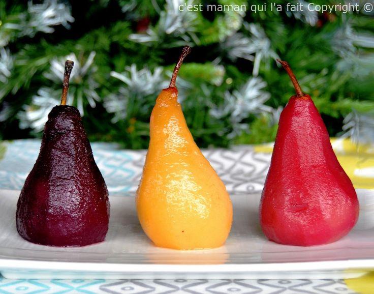 poires pochées trois façons - poires pochées de Noel- poires de noel