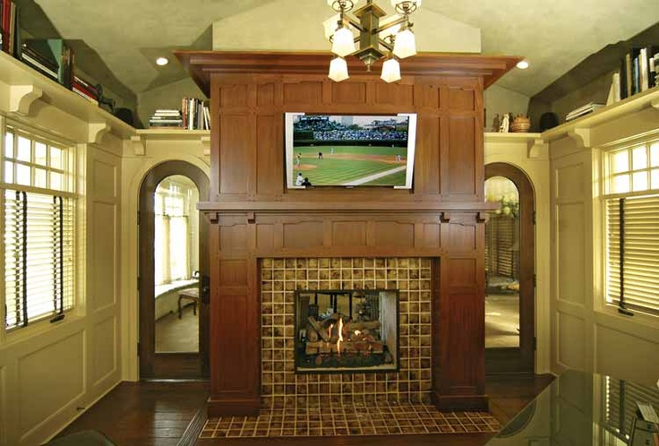 fireplace: Ideas, Art Crafts, Fireplaces Design, Outdoor Rooms, Craftsman Home, Craftsman Style, Fireplaces Surroundings, Traditional Home Offices, Photo
