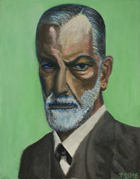 Sigmund Freud. Tanya Sazansky acrilic, canvas #contemporary #art #freud #sigmund #paint #portrait
