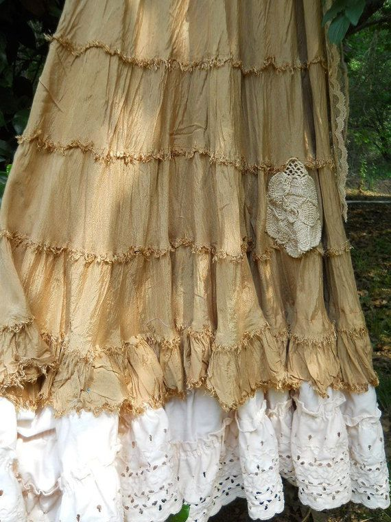 Tea stained beige tiered cotton  lace embroidery  maxi dress  prairie wedding rose  medium  by vintage opulence on Etsy