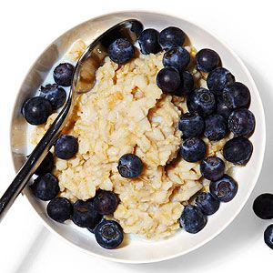 1 cup oatmeal with 1/2 cup skim milk and 1 cup blueberries Protein: 11 grams