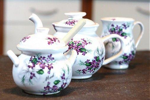 Set čajník, med, šálka by handloved - SAShE.sk - Handmade Do kuchyne