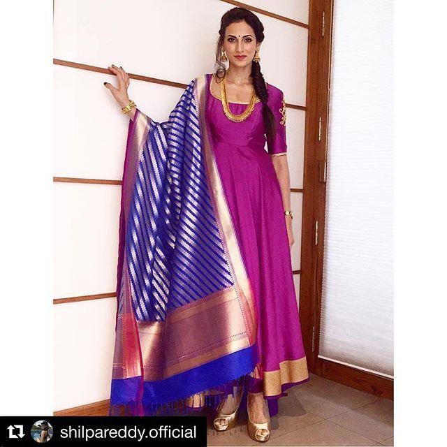 #Repost @shilpareddy.official with @repostapp ・・・ We Indian women fear no colour .. We can celebrate every colour and its every hue ! #shilpareddy #incredibleindia #anarkalisuit #banarasdupatta #indianweaves #banarasweave #chanderi #contemporayindianwomen @shilpareddyofficial