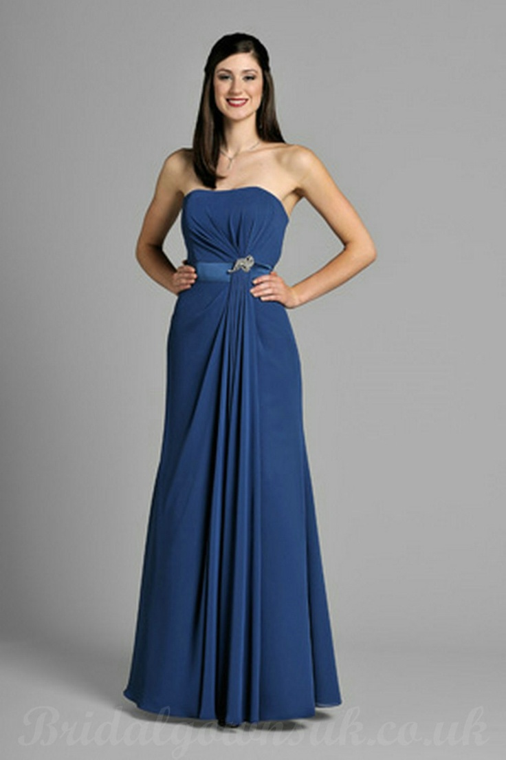 8 best bridesmaid dresses in sapphire blue images on pinterest strapless chiffon blue bridesmaid dress with drapping waist ombrellifo Image collections