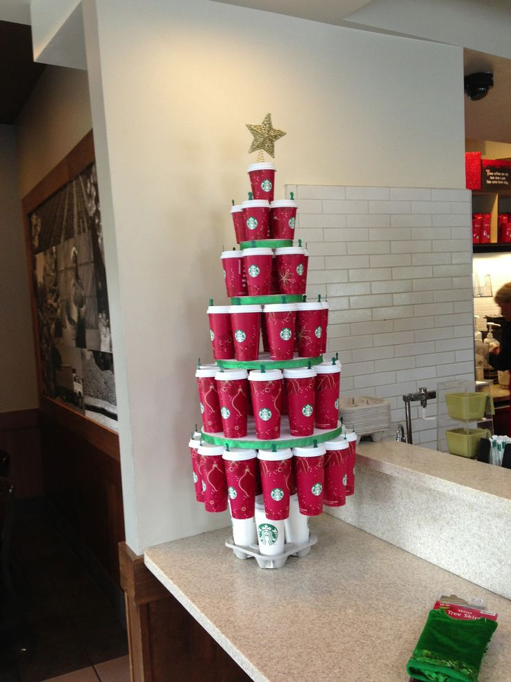 Tree of RED Cups! Luv Starbucks!