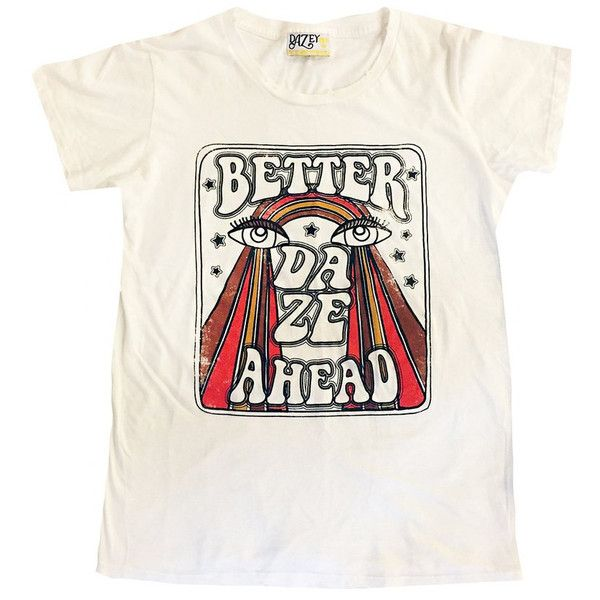 Better Daze, hand drawn tee, 70's rainbow shirt, 70's women's graphic... ($45) ❤ liked on Polyvore featuring tops, t-shirts, oversized graphic tee, white t shirt, oversized shirt, tee-shirt and t shirt