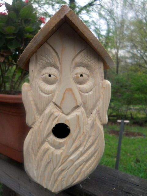 Wood Spirit Carvings 2 Nest Birdhouse Folk Art Wood