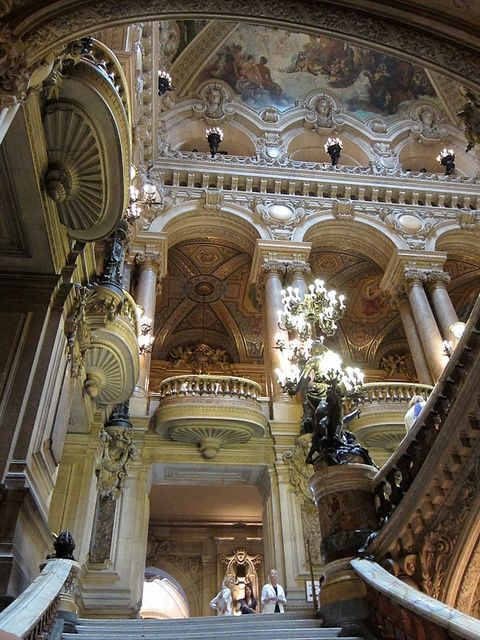 Architecture inside Opera Garnier, Paris, France.