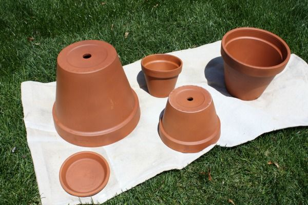 Terracotta Pots   clean and seal with  waterproof spray sealer and then prime