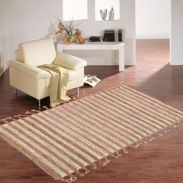 BRAIDS WOOL JUTE FLAT WOVEN WHITE RUGS
