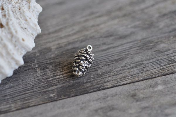 Medium Sterling Silver Pine Cone Charm, Double-Sided Charm for Autumn, 925 Sterling Charm, Sterling Pinecone Charm by Pearlwearbeads on Etsy