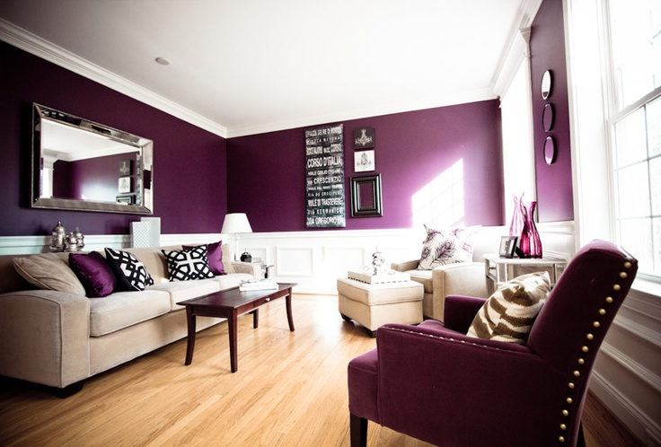 Deep purple and white living room paint colors for Dark purple living room ideas