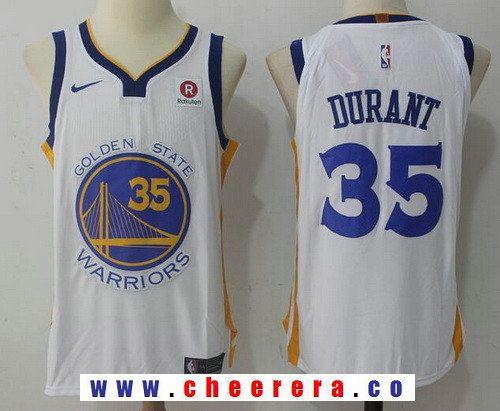 d338f98e60c Men s Golden State Warriors  35 Kevin Durant White 2017-2018 Nike Swingman  Rakuten Stitched NBA Jersey