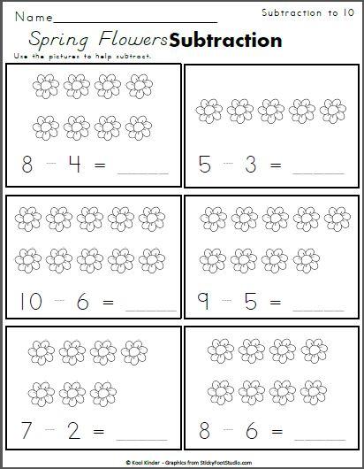 spring flowers subtraction to 10 kindergarten math kindergarten math worksheets free. Black Bedroom Furniture Sets. Home Design Ideas