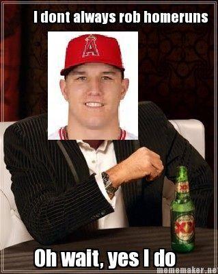 MLB Memes for 2016 Season - Mike Trout, robbing home runs like a boss.