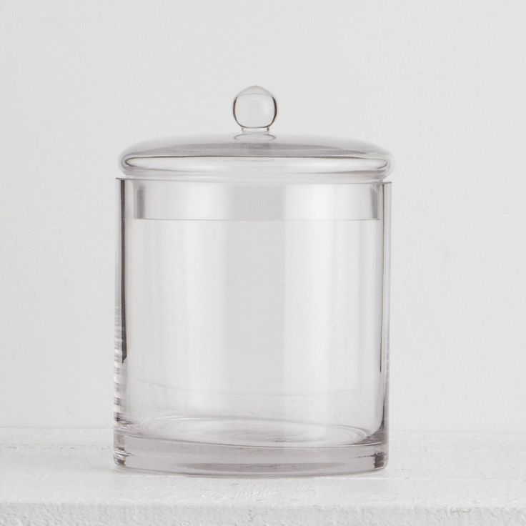 Classic Glass Canister - Add elegant style and storage to your bathroom with our lidded glass canister. (Pictured with shortbreads)