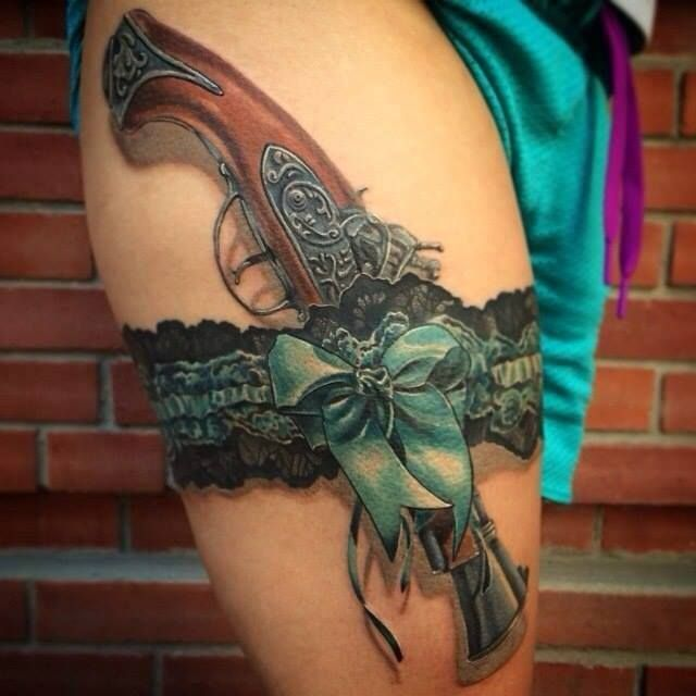 Realistic Garter With An Old Gun Please Credit The Artist In Comments Pistol Tattoosgirl