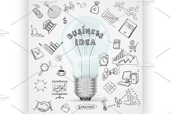 bulb with drawing business icon by Netkoff on @creativemarket