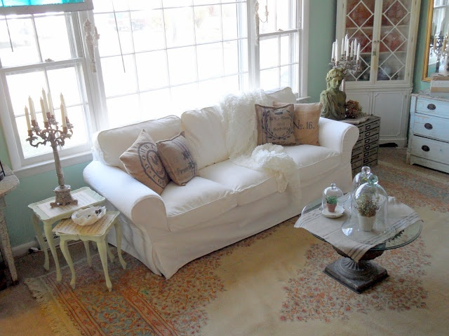 Shabby French Cottage Ektorp Sofa From Ikea CouchEktorp SofaFrench CottageLiving Room IdeasFamily