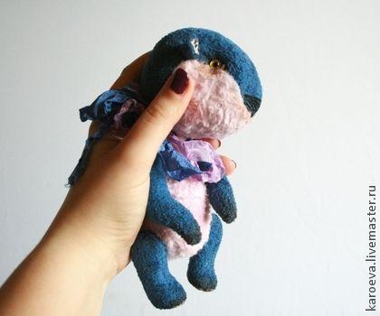 Мишка-Бобрик Сине-Розовый. Handmade.