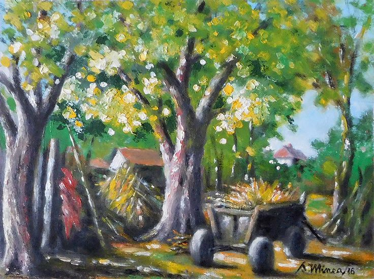 In the courtyard original oil painting by severminea on Etsy