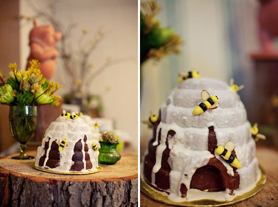 Beehive cake for Winnie the Pooh Baby Shower. Photo by Jennifer Skog Photography.