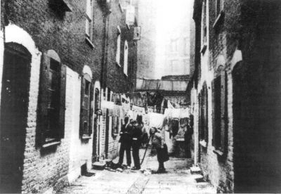This is believed to be a photograph of Millers Court in Dorset Street, where…