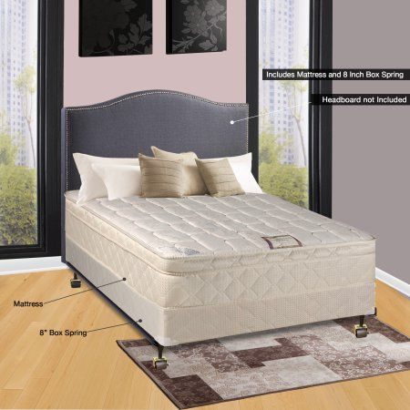 Spinal Solution 9 inch Pillowtop Fully Assembled Orthopedic Mattress and 5-inch Box Spring, Twin XL, Beige