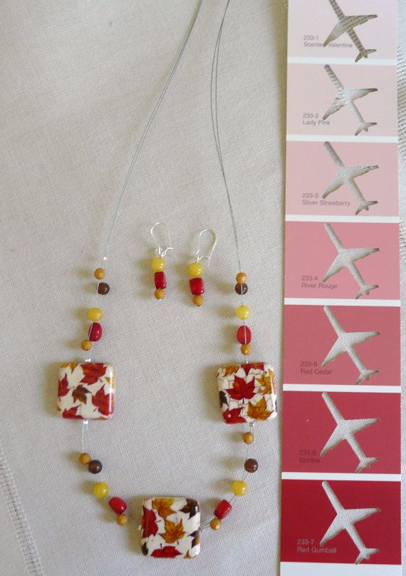 Wonderful fall hues and beautiful leaf motif beads by PlaneNSimple