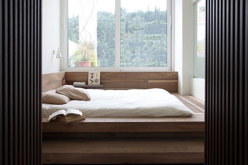 lycabettus penthouse | bedroom ~ ese studio. Bed in timber plinth. Built in shelving.