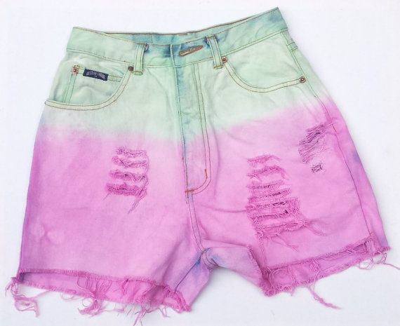 Watermelon Shorts High Waisted Dyed Denim Shorts Pink & Green Jean Shorts All Sizes Available Custom Made Festival Clothing