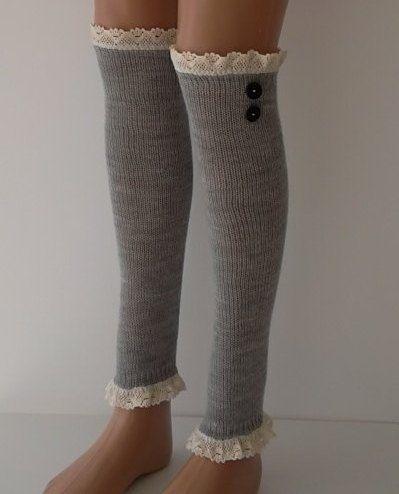 SOCKS Lihgt Grey Leg Warmers Boot Socks Machine Knit Women's Fashion Winter Socks Autumn Socks on Etsy, $25.00