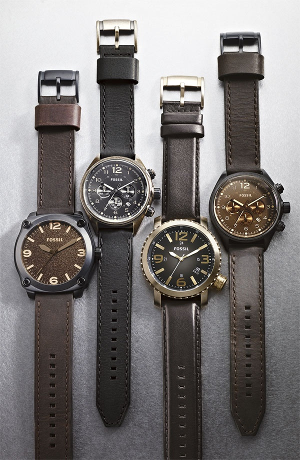 Fossil Men's Chronograph Leather Strap Watch